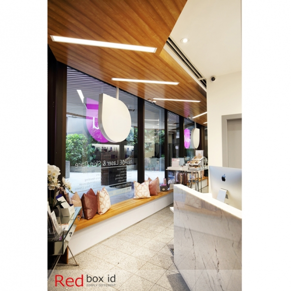 NuAge Laser Clinic Integrated Wooden Element Designed by Red Box ID